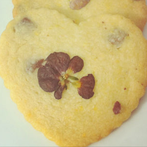 Choc-chip and Orange Cookies with Edible Flowers