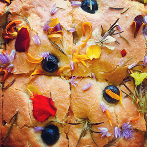 focaccia with herbs and edible flowers