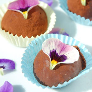 Chocolate Truffles with Edible Flowers