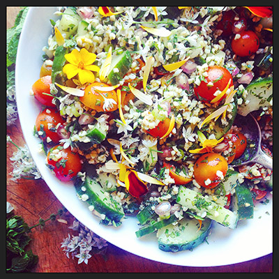 tabbouleh with edible flowers