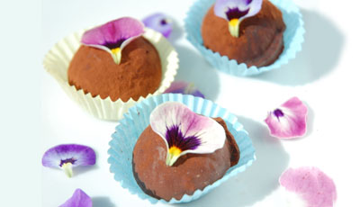 chocolate edible flower truffles
