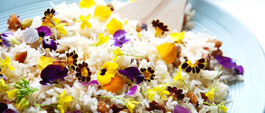 rice with flowers and pomegranate
